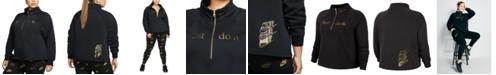 Nike Plus Size Sportswear Shine 1/2-Zip Fleece Top