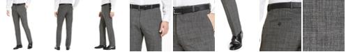Perry Ellis Men's Portfolio Modern-Fit Performance Charcoal Heathered Plaid Dress Pants