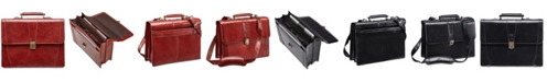 Mancini Signature Collection Flapover Double Compartment Laptop and Tablet Briefcase
