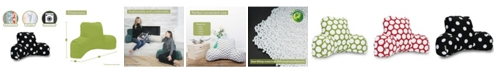 """Majestic Home Goods Large Polka Dot Comfortable Soft Reading Pillow 33"""" x 18"""""""