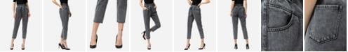 VERVET Women's Paperbag Self Tie Front Yoke Detail Mom Jeans