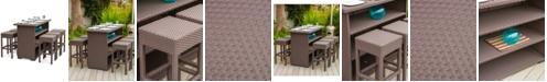 Furniture Kirton 7-Pc. Brown Resin Wicker Bar Set, Quick Ship