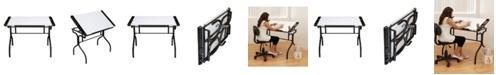 Clickhere2shop Folding Craft Station Glass - Black/White