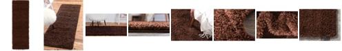 "Bridgeport Home Exact Shag Exs1 Chocolate Brown 2' 2"" x 6' 5"" Runner Area Rug"