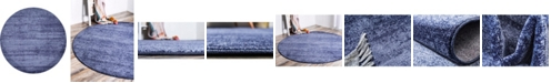 Bridgeport Home Lyon Lyo3 Navy Blue 6' x 6' Round Area Rug
