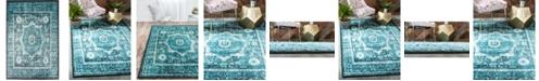 Bridgeport Home Linport Lin7 Turquoise 4' x 6' Area Rug