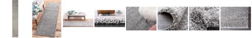 "Bridgeport Home Exact Shag Exs1 Cloud Gray 2' 6"" x 16' 5"" Runner Area Rug"