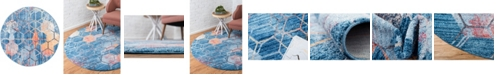"""Bridgeport Home Prizem Shag Prz1 Blue 3' 3"""" x 3' 3"""" Round Area Rug"""