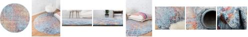 """Bridgeport Home Prizem Shag Prz2 Blue 3' 3"""" x 3' 3"""" Round Area Rug"""