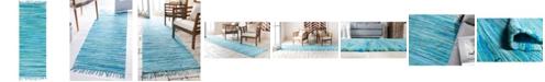 "Bridgeport Home Jari Striped Jar1 Turquoise 2' 7"" x 6' 7"" Runner Area Rug"