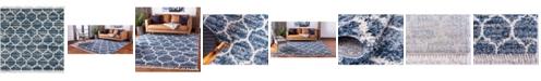 Bridgeport Home Lochcort Shag Loc1 Blue 8' x 8' Square Area Rug
