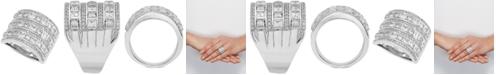 Arabella Swarovski Zirconia Wide Statement Ring in Sterling Silver