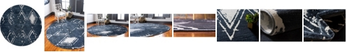 Jill Zarin Carnegie Hill Uptown Jzu006 Navy Blue 8' x 8' Round Rug