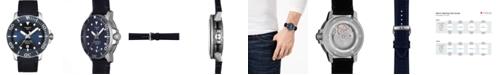 Tissot Men's Swiss Automatic T-Sport Seastar 1000 Powermatic 80 Silicium Blue Fabric Strap Diver Watch 43mm