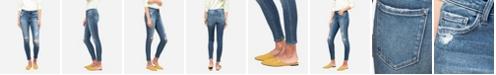 VERVET Women's Mid Rise Distressed Skinny Crop Jeans