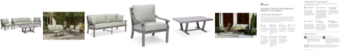 Furniture Tara Aluminum Outdoor 4-Pc. Seating Set (1 Sofa, 2 Club Chairs & 1 Coffee Table), Created for Macy's