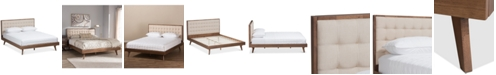 BLUSH & BRASS Soloman Upholstered Full Bed, Quick Ship