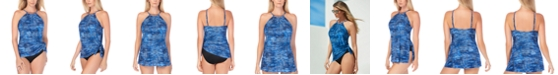 Magicsuit Blue Jean Printed Tummy-Control Swimdress With Underwire