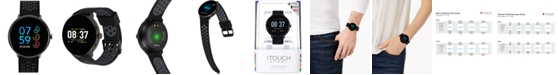 iTouch Men's Sport Black & Gray Silicone Strap Touchscreen Smart Watch 43.2mm