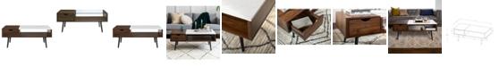 Walker Edison Wood and Faux Marble Coffee Table - Dark Walnut