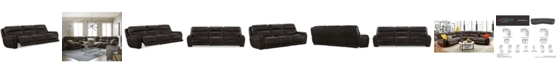 Furniture Summerbridge 3-Pc. Leather Sectional Sofa with 3 Power Reclining Chairs, Power Headrests and USB Power Outlet
