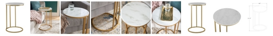 Walker Edison 16 inch Round C Table with White Faux Marble Top