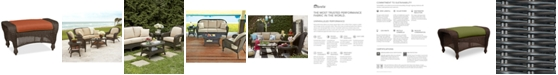 Furniture Monterey Wicker Outdoor Ottoman: with Custom Sunbrella®,  Created for Macy's