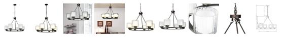 Cenports Canyon Home 6 Bulb Wagon Wheel Light Fixture with Glass Shades