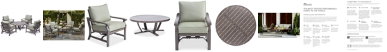 """Furniture Tara Aluminum Outdoor 5-Pc. Seating Set (48"""" Round Table & 4 Rocker Chairs), with Sunbrella® Cushions, Created for Macy's"""