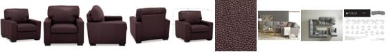 "Furniture Ennia 36"" Leather Armchair, Created for Macy's"