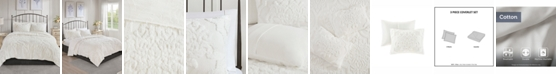 Madison Park Viola Full/Queen 3 Piece Cotton Chenille Damask Coverlet Set