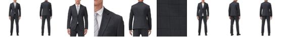 Armani Exchange Men's Slim-Fit Dark Gray Windowpane Suit Separates
