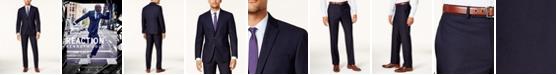 Kenneth Cole Reaction Men's Techni-Cole Navy Shadow Check Slim-Fit Suit
