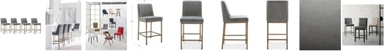 Furniture Cambridge Velvet Stool, 4-Pc. Set (4 Grey Counter Stools)