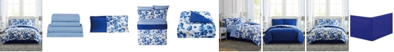 Pem America Blue Watercolor Floral Twin 6PC Comforter Set
