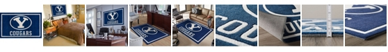 """Luxury Sports Rugs Brigham Young Colby Blue 5' x 7'6"""" Area Rug"""