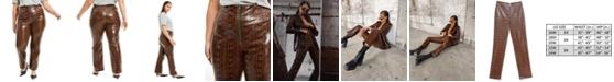 Danielle Bernstein Plus Size Faux-Snakeskin Pants, Created for Macy's