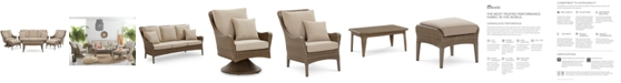 Furniture CLOSEOUT! Silver Lake Indoor/Outdoor Flat Rattan 6-Pc. Seating Set (1 Sofa, 1 Club Chair, 1 Swivel Club Chair, 1 Coffee Table and 2 Ottomans) with Sunbrella® Cushions, Created for Macy's