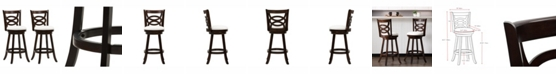 CorLiving Wood Barstools with Leatherette Seat and Circular Design, Set of 2