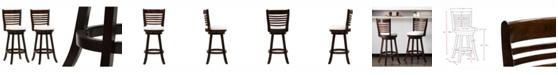 CorLiving Wood Barstools with Leatherette Seat and 6-Slat Backrest, Set of 2