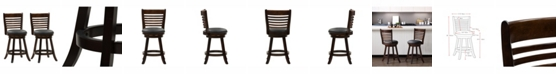 CorLiving Counter Height Wood Barstools with Bonded Leather Seat and 6-Slat Backrest, Set of 2
