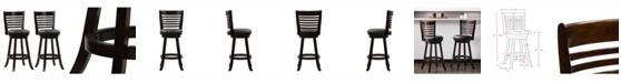 CorLiving Wood Barstools with Bonded Leather Seat and 6-Slat Backrest, Set of 2