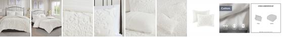 JLA Home Madison Park Viola Full/Queen 3 Piece Cotton Chenille Damask Comforter Set