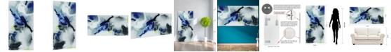 "Empire Art Direct 'Blue Splash' Frameless Free Floating Tempered Art Glass Wall Art - 72"" x 36''"