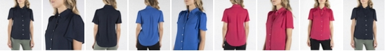 nanette Nanette Lepore Short Sleeve Button Down with Flutter Sleeves and Pleats