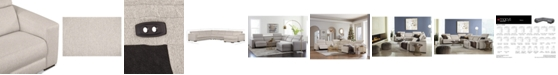 Furniture Nevio 6-Pc. Fabric Sectional Sofa with Chaise, 1 Power Recliner and Articulating Headrests, Created for Macy's