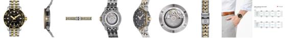 Tissot Men's Swiss Automatic SeaStar Two-Tone PVD Stainless Steel Bracelet Diver Watch 43mm