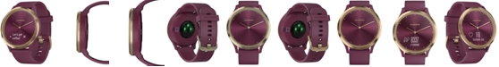 Garmin Unisex vívomove HR Sport Berry Silicone Strap Hybrid Touchscreen Smart Watch 43mm, Created for Macy's