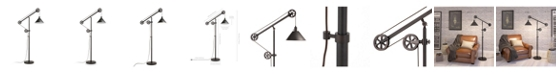Hudson & Canal Descartes Floor Lamp In Blackened Bronze With Pulley System