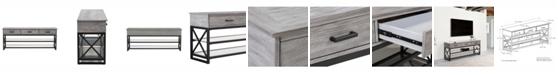 CorLiving Distribution Houston Oak Wood Veneer TV Bench with Glass Shelves